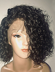 cheap -Human Hair Glueless Full Lace Full Lace Wig Bob Short Bob Side Part style Brazilian Hair Curly Water Wave Wig 130% Density with Baby Hair Natural Hairline Glueless Women's 8-14 Human Hair Lace Wig