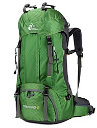 cheap -60 L Hiking Backpack Rucksack Commuter Backpack Breathable Straps - Comfortable Outdoor Camping / Hiking Hiking Outdoor Exercise Polyester / Cotton Red Green Pink