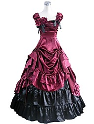cheap -Rococo Victorian Costume Women's Outfits Red+Black Vintage Cosplay Taffeta Short Sleeve Puff / Balloon Sleeve