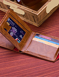 cheap -Men's Buttons PU Leather Wallet Geometric Coffee