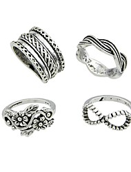 cheap -Knuckle Ring Silver Alloy Flower Ladies Rock Fashion 4pcs One Size / Women's