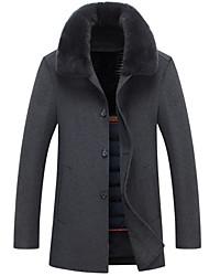 cheap -Men's Sports Winter Regular Jacket Round Neck Long Sleeve Faux Fur / Polyester Oversized / Print Black / Gray