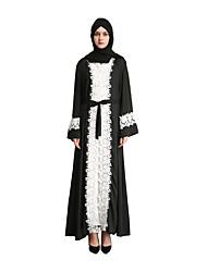 cheap -Arabian Dress Abaya Kaftan Dress Women's Classic Festival / Holiday Chiffon Black Carnival Costumes Solid Colored