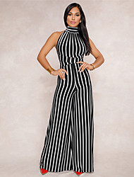 cheap -Women's Backless Daily / Going out Boho Halter Neck Black Blue Red Wide Leg Jumpsuit Onesie, Striped Backless / Embroidered S M L High Waist Sleeveless