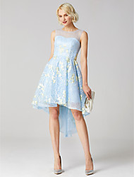 cheap -Ball Gown Illusion Detail Cute Holiday Homecoming Cocktail Party Dress Jewel Neck Sleeveless Asymmetrical Lace with Appliques 2021