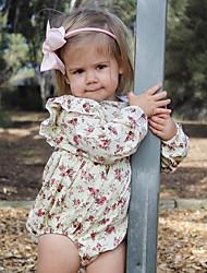 Недорогие -малыш Девочки Простой Повседневные Однотонный / Цветочный принт С короткими рукавами Хлопок / Лён / Бамбуковая ткань Bodysuit Синий / Дети (1-4 лет)