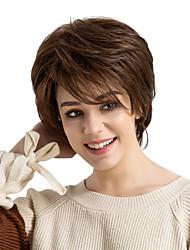cheap -Human Hair Capless Wigs Human Hair Straight Layered Haircut / Short Hairstyles 2019 / With Bangs Side Part Short Machine Made Wig Women's