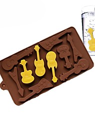 cheap -10 Guitar Silicone Cake Mold 3D Chocolate Mould Ice Cream Maker
