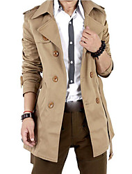 cheap -Men's Going out / Weekend Fall / Winter Long Trench Coat, Solid Colored Shirt Collar Long Sleeve Cotton / Polyester Oversized Black / Khaki / Slim