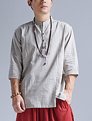 cheap -Men's Daily Linen T-shirt - Solid Colored Stand Gray