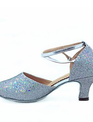 cheap -Women's Modern Shoes / Ballroom Shoes Glitter / Leatherette Toggle Clasp Heel Customized Heel Customizable Dance Shoes Black / Silver / Fuchsia / EU43