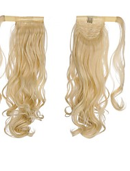 cheap -Drawstring Ponytails Wrap Around Human Hair Hair Piece Hair Extension Wavy
