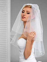 cheap -Two-tier Cut Edge / Veil Wedding Veil Elbow Veils with Ruffles / Rattan Tulle / Classic