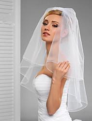 cheap -Two-tier Cut Edge / Veil Wedding Veil Elbow Veils with Ruffles / Rattan Tulle / Classic