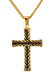 cheap -Men's Pendant Necklace Cross Vintage Hip Hop Stainless Steel Metal Gold Silver Necklace Jewelry One-piece Suit For Daily Street