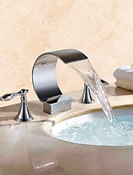cheap -Bathroom Sink Faucet - Waterfall Chrome Widespread Two Handles Three Holes / Brass