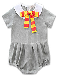 cheap -Baby Girls' Simple / Casual / Basic Daily / Sports Solid Colored Bow / Pleated / Stylish Short Sleeve Cotton Bodysuit Gray / Toddler