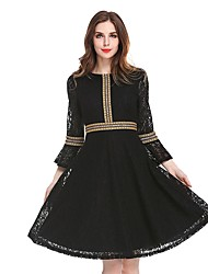 cheap -Women's Lace Plus Size Wine Black Dress Fall Party Work A Line Lace Color Block Flare Cuff Sleeve Lace S M High Waist