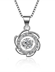 cheap -Women's Cubic Zirconia Moissanite Pendant Necklace Flower Classic Vintage Fashion Zircon Silver Silver Necklace Jewelry One-piece Suit For Wedding Engagement