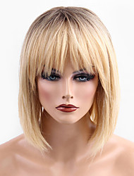 cheap -Human Hair Capless Wigs Human Hair Straight Short Hairstyles 2019 Ombre Hair / Dark Roots Medium Length Machine Made Wig Women's