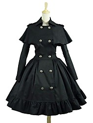cheap -Punk Lolita Rococo Vacation Dress Dress Women's Girls' Japanese Cosplay Costumes Black Solid Colored Long Sleeve Knee Length / Punk Lolita Dress