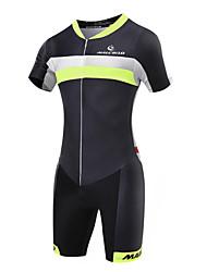 cheap -Malciklo Men's Short Sleeve Triathlon Tri Suit - Green / Black Geometic / British Bike Breathable, Quick Dry Coolmax®, Lycra Geometic / High Elasticity / Advanced / SBS Zipper