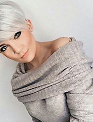 cheap -Human Hair Blend Wig Straight Pixie Cut Layered Haircut Short Hairstyles 2020 Straight Natural Hairline Machine Made Natural Black #1B Silver Beige Blonde / Bleached Blonde 8 inch
