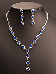 cheap -Women's Cubic Zirconia Synthetic Sapphire Jewelry Set Drop Earrings Choker Necklace Drop Classic Vintage Elegant Austria Crystal Earrings Jewelry Blue For Wedding Party Engagement