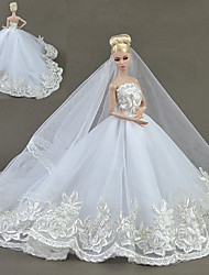 cheap -Doll accessories Doll Clothes Doll Dress Wedding Dress Party / Evening Wedding Ball Gown Embroidery Solid Color Tulle Lace Cotton Blend For 11.5 Inch Doll Handmade Toy for Girl's Birthday Gifts  Doll