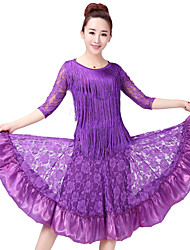 cheap -Latin Dance Outfits Women's Training Polyester Lace / Pattern / Print / Split Joint Half Sleeve High Skirts / Top