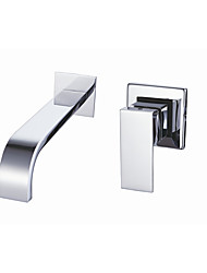 cheap -Bathroom Sink Faucet - Waterfall Chrome Wall Mounted Single Handle Two HolesBath Taps