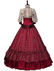 cheap -Victorian Renaissance Costume Women's Outfits Red+Golden Vintage Cosplay 50% Cotton / 50% Polyester 3/4 Length Sleeve Puff / Balloon Sleeve
