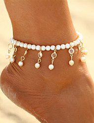 cheap -Anklet feet jewelry Ladies Boho Bohemian Women's Body Jewelry For Carnival Bikini Crystal Pearl Drop Gold Silver