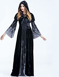 cheap -Vampire Grim Reaper Dress Cloak Adults' Women's Halloween Festival / Holiday Black Female Carnival Costumes Solid Colored Cool Skulls Black & White