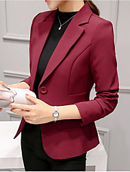 cheap -Women's Daily Ordinary Spring Regular Blazer, Solid Colored Fold-over Collar Long Sleeve Polyester Wine / Light Blue / Royal Blue