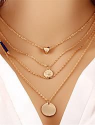 Недорогие -Жен. Слоистые ожерелья Многослойный Сердце Дамы Мода Многослойный Сплав Золотой Ожерелье Бижутерия 1 Назначение Подарок Для улицы