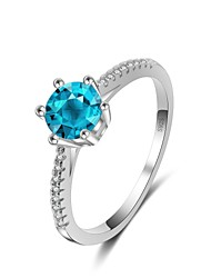 cheap -Women's Band Ring Cubic Zirconia High End Crystal 1pc Light Blue Zircon Silver Geometric Vintage Basic Fashion Wedding Engagement Jewelry