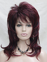 cheap -new black mix burgundy medium length cascaded layers synthetic hair full women s thick wig
