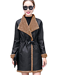 cheap -Women's Going out Street chic Fall / Winter Plus Size Regular Leather Jacket, Solid Colored / Color Block Shirt Collar Long Sleeve PU / Polyester Brown / Gray / Khaki