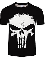 cheap -Men's Daily Plus Size T-shirt - Skull Print Round Neck Black / Summer / Short Sleeve