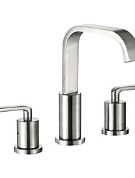 cheap -Bathroom Sink Faucet - Waterfall Nickel Brushed Widespread Two Handles Three Holes / CUPC