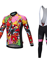 cheap -Malciklo Men's Long Sleeve Cycling Jersey with Bib Tights Winter Fleece Lycra Black White Bike Clothing Suit Thermal / Warm Fleece Lining Quick Dry Anatomic Design Reflective Strips Sports Painting