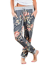 cheap -Women's Harem Drawstring Yoga Pants Floral Botanical Elastane Knit Zumba Running Fitness Pants / Trousers Bottoms Activewear Breathable Quick Dry Stretchy