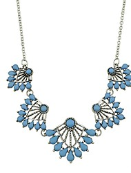 cheap -Women's Pendant Necklace Mother Daughter Flower Ladies Basic Fashion Imitation Tourmaline Alloy Blue Necklace Jewelry For Daily New Year