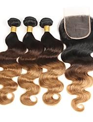 Недорогие -3 комплекта с закрытием Бразильские волосы Естественные кудри Натуральные волосы Омбре 12-26 дюймовый Ткет человеческих волос Шерсть Лучшее качество Шелковые базовые волосы / 8A