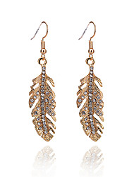 cheap -Women's Drop Earrings Leaf Ladies Simple Fashion Imitation Diamond Earrings Jewelry Gold For Daily Going out