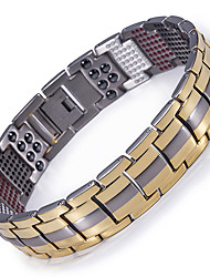 cheap -Men's Chain Bracelet Hologram Bracelet Two tone Titanium Steel Bracelet Jewelry Gold / Black / Silver For Causal Daily