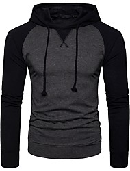 cheap -Men's Basic Long Sleeve Hoodie - Solid Colored Hooded Dark Gray L / Spring