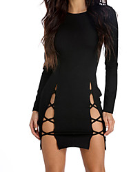 cheap -Women's Mini Black Bodycon Dress - Long Sleeve Solid Color Cut Out Spring Summer Street chic Daily Going out Slim Lace up White Black Royal Blue Light Blue S M L XL