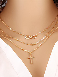 cheap -Women's Layered Necklace Layered Cross Infinity Bohemian Multi Layer Acrylic Alloy Gold Necklace Jewelry One-piece Suit For Holiday Street